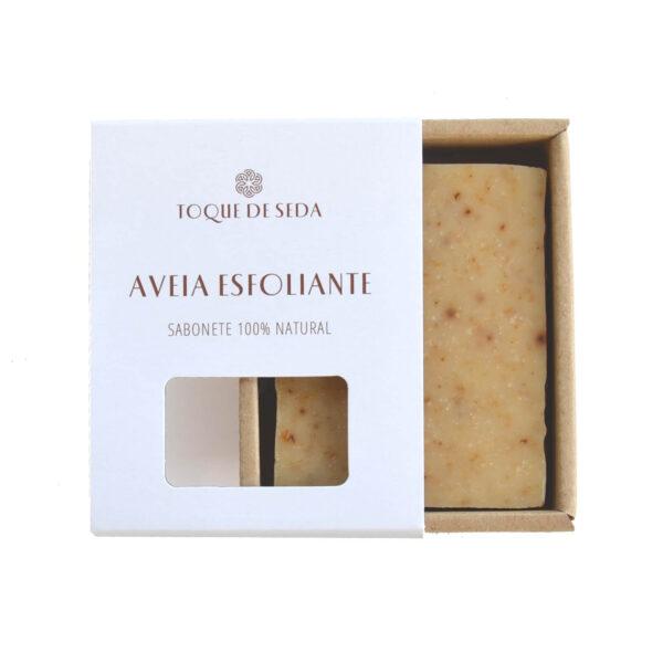 sabonete esfoliante de aveia em caixa de cartão