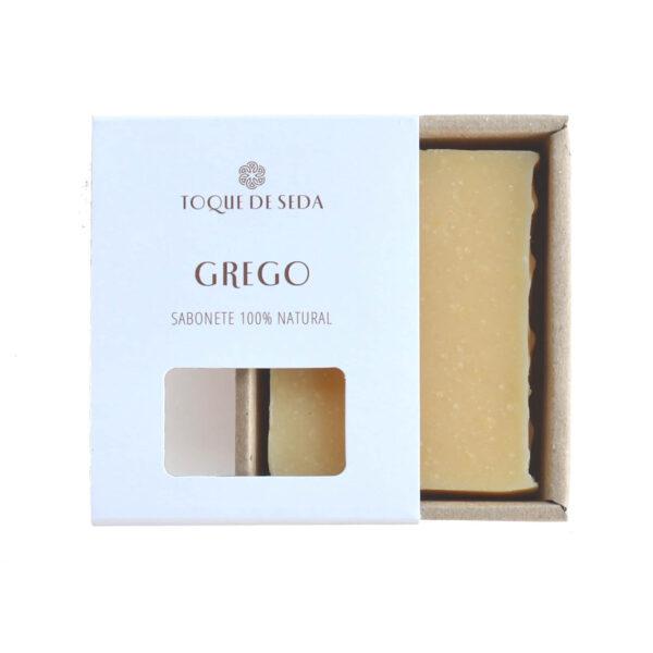 sabonete grego em caixa de cartão