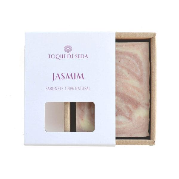 sabonete de jasmim e argila rosa em caixa de cartão