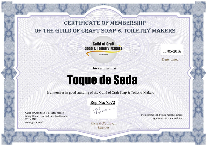 Certificado The Guild of Craft Soaps